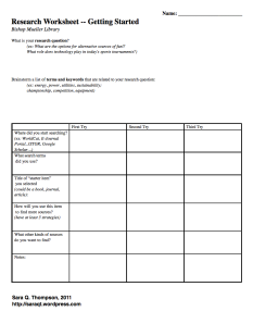 Screenshot of Research Worksheet